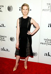 Cynthia Nixon donned a little black dress with grid-print panels for the 'Adderall Diaries' premiere.