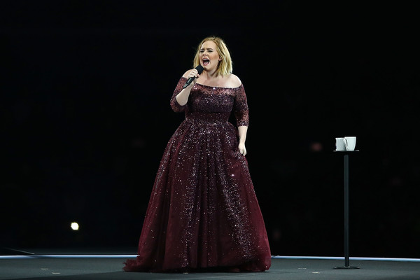 Adele Off-the-Shoulder Dress [performance,dress,performing arts,beauty,fashion,gown,performance art,event,singing,stage,adele live,perth,domain stadium,australia,adele]