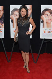 Gloria Reuben looked feminine but sophisticated in a black lace dress at the 'Admission' premiere in NYC.