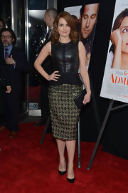 A classic pencil skirt totally dressed up Tina Fey's red carpet look at the 'Admission' premiere in NYC.