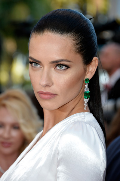 Adriana Lima Dangling Gemstone Earrings [hair,face,eyebrow,hairstyle,beauty,lip,skin,chin,lady,black hair,red carpet arrivals,julieta,adriana lima,cannes,france,cannes film festival,premiere,palais des festivals]