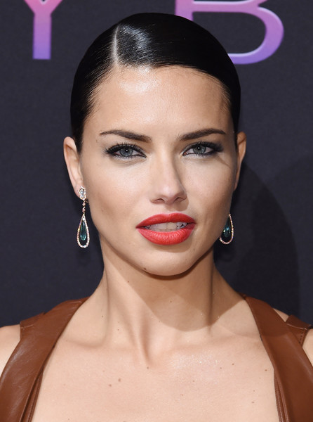 Adriana Lima Dangling Gemstone Earrings [hair,face,lip,eyebrow,hairstyle,beauty,skin,chin,forehead,head,adriana lima,nyfw,new york,new york city,maybelline,kick-off party]