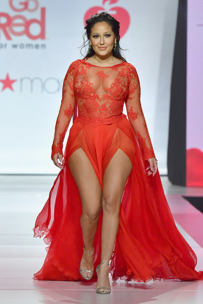 Adrienne Bailon Evening Sandals [fashion model,fashion show,clothing,fashion,red,shoulder,thigh,beauty,fashion design,dress,adrienne houghton,runway,hammerstein ballroom,new york city,american heart associations go red for women red dress collection,macys,american heart associations go red for women red dress collection 2018]