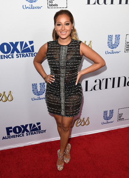 Adrienne Bailon Strappy Sandals [clothing,cocktail dress,dress,red carpet,carpet,shoulder,joint,fashion,fashion model,footwear,party,latina media ventures,latina media ventures hosts latina hot list,latina hot list,the london west hollywood,california,adrienne bailon]