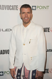 Perez Hilton was very distinguished-looking in his white blazer but couldn't resist adding a quirky touch with a pair of star-print pants.