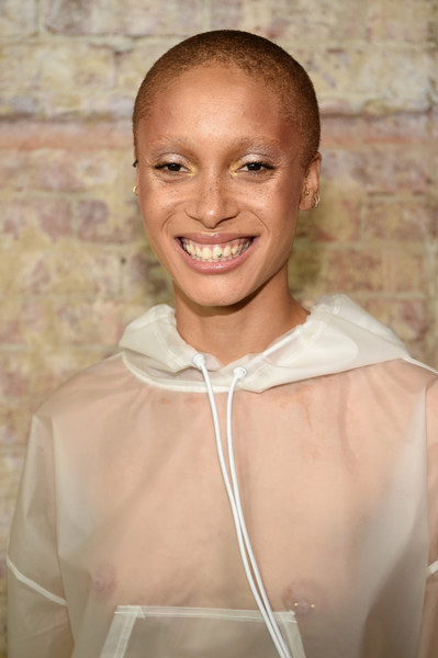 Adwoa Aboah Buzzcut [face,skin,forehead,smile,human,neck,happy,summer 2018 collection - backstage first looks,summer 2018 collection at park avenue armory,adwoa aboah,fenty puma,new york city,rihanna spring]