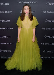 Keira Knightley was a fairytale princess in a chartreuse tulle gown by Valentino at the New York screening of 'The Aftermath.'