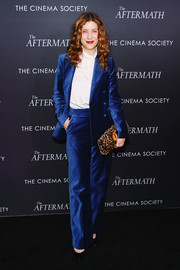 Kate Walsh went for a blue velvet pantsuit at the New York screening of 'The Aftermath.'
