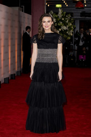 Keira Knightley looked enchanting in a tiered black and silver gown by Chanel Couture at the world premiere of 'The Aftermath.'