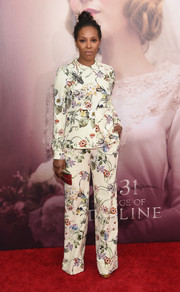 June Ambrose worked a '70s vibe in a Zara floral pantsuit during the 'Age of Adaline' New York premiere.