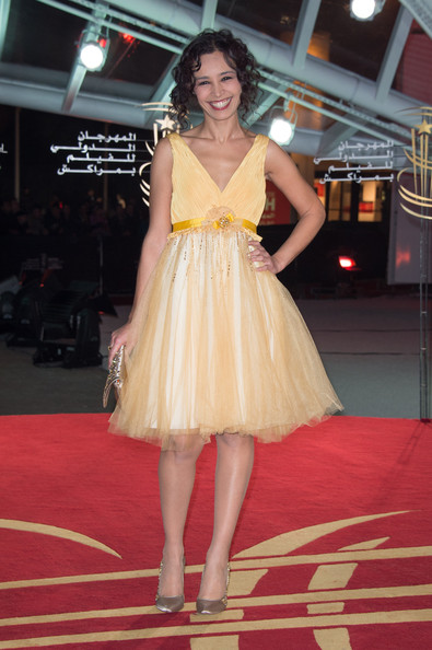 Aida Touihri Cocktail Dress [clothing,dress,fashion model,cocktail dress,shoulder,yellow,fashion,red carpet,beauty,carpet,marrakech,morocco,marrakech international film festival - opening ceremony,ceremony,marrakesh international film festival,aida touihri]