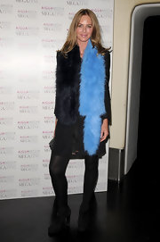 Trinny Woodall jazzed up her all-black ensemble with a two-tone fur scarf at Aigua Media's Fashion and Beauty Magazine launch.