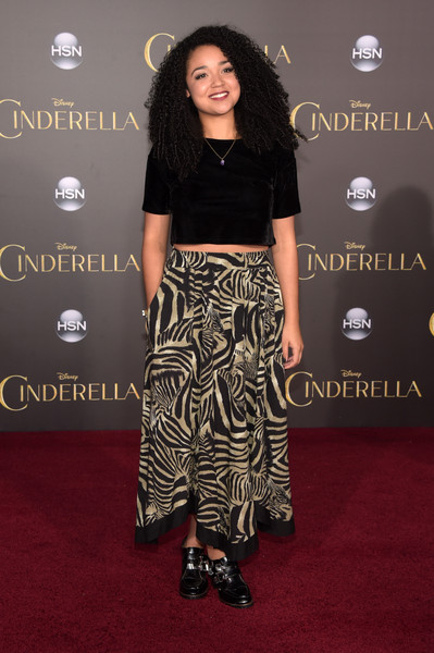 Aisha Dee Long Skirt [clothing,carpet,red carpet,fashion,flooring,footwear,fashion model,premiere,dress,joint,arrivals,aisha dee,cinderella,california,hollywood,el capitan theatre,disney,premiere,premiere]
