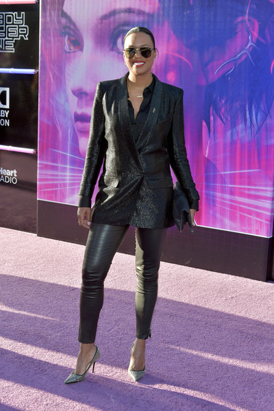 Aisha Tyler Studded Heels [ready player one,fashion,clothing,purple,violet,footwear,suit,formal wear,fashion model,fashion design,model,arrivals,aisha tyler,california,hollywood,dolby theatre,warner bros. pictures,premiere,premiere,photograph,stock photography,photography,celebrity,daytime emmy award,actor,the paley center for media,aisha tyler]