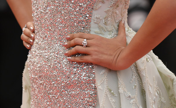 Aishwarya Rai Diamond Ring [sink or swim,wedding dress,dress,clothing,gown,bridal clothing,bride,nail,hand,fashion,bridal accessory,red carpet arrivals,aishwarya rai,screening,jewelry detail,cannes,france,cannes film festival,palais des festivals]