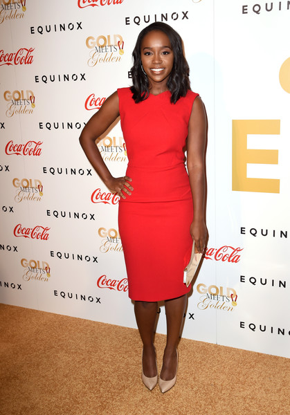 Aja Naomi King Day Dress [dress,clothing,cocktail dress,red,shoulder,fashion,hairstyle,fashion model,joint,footwear,arrivals,actress,aja naomi king,gold,gold,los angeles,california,life is good,equinox,event]