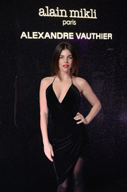 Julia Restoin-Roitfeld looked sultry in a ruched black halter dress at the Alain Mikli x Alexandre Vauthier launch.