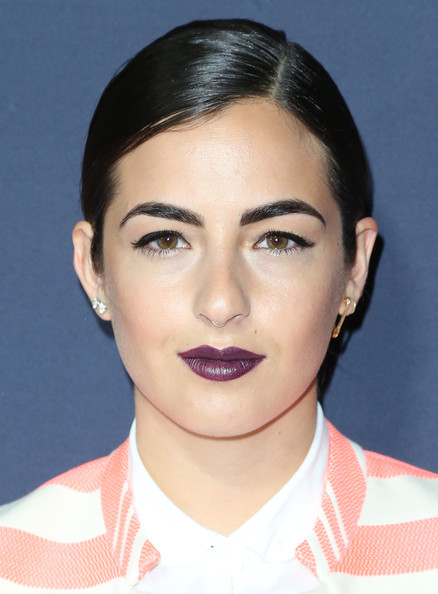 Alanna Masterson Dark Lipstick [face,hair,eyebrow,lip,chin,cheek,skin,hairstyle,forehead,nose,capsule collection,zooey deschanel,alanna masterson,tommy hilfiger,west hollywood,california,the london hotel,debut new capsule collection]