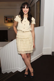 Jessica Brown-Findlay was too cute for words in this girly layered day dress. The cut out patterning was to die for.