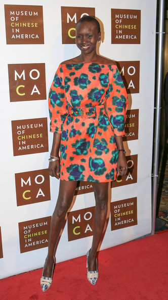 Alek Wek Off-the-Shoulder Dress