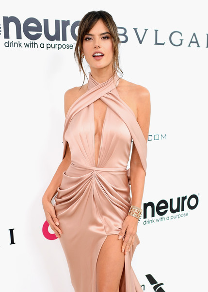 Alessandra Ambrosio Cuff Bracelet [red carpet,clothing,dress,shoulder,fashion model,cocktail dress,neck,joint,fashion,leg,peach,alessandra ambrosio,west hollywood park,california,the city,elton john aids foundation,oscar viewing party,academy awards viewing party]
