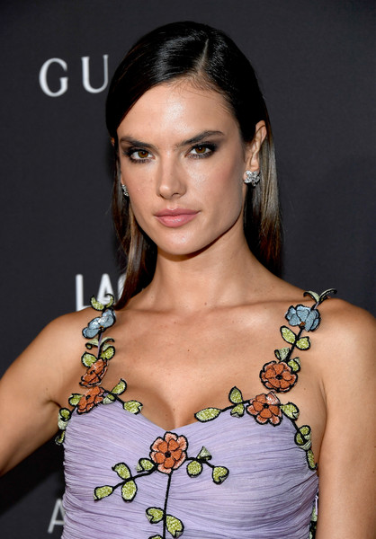 Alessandra Ambrosio Long Straight Cut [lacma art film gala,hair,shoulder,hairstyle,eyebrow,beauty,fashion model,lip,brown hair,fashion,joint,kathryn bigelow,robert irwin,alessandra ambrosio,lacma,california,los angeles,gucci,red carpet]