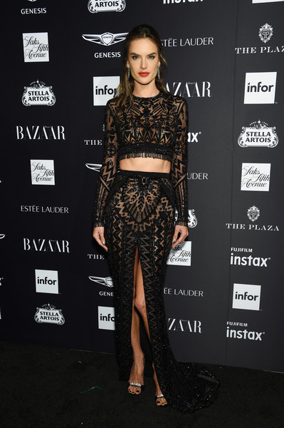 Alessandra Ambrosio Crop Top [clothing,fashion,crop top,shoulder,dress,carpet,red carpet,fashion model,waist,joint,carine roitfeld,estee lauder,stella artois - arrivals,icons,plaza hotel,harpers bazaar celebrates,saks fifth avenue,fujifilm instax,genesis,infor]