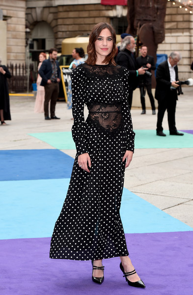 Alexa Chung Pumps [clothing,polka dot,fashion,pattern,dress,street fashion,carpet,design,red carpet,footwear,party arrivals,alexa chung,exhibition preview,england,london,royal academy of arts summer,royal academy of arts,royal academy of arts summer exhibition]