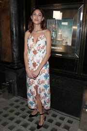 Alexa Chung paired her cute frock with black ankle-strap pumps by Nicholas Kirkwood.