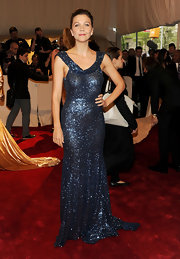 Maggie sparkled at the Met Ball in a blue sequined evening gown.