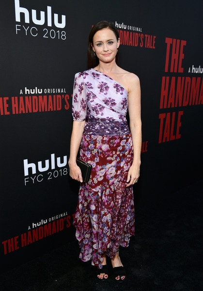 Alexis Bledel One Shoulder Dress [the handmaids tale,fashion model,flooring,fashion,carpet,catwalk,fashion design,fashion show,red carpet,premiere,alexis bledel,hulu,california,los angeles,the wilshire ebell theatre,finale,finale]
