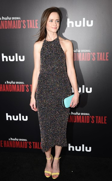 Alexis Bledel Strappy Sandals [the handmaids tale,photo,fashion model,little black dress,dress,flooring,cocktail dress,shoulder,fashion,catwalk,carpet,fashion show,arrivals,alexis bledel,hulu,los angeles,california,hollywood,premiere,premiere]