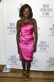Viola Davis caught eyes with her super-chic hot-pink satin strapless dress at Alfre Woodard's Oscar's Sistahs Soiree.