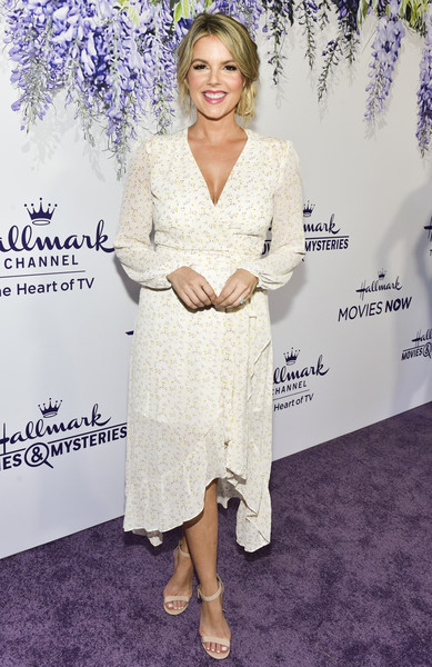 Ali Fedotowsky Wrap Dress [red carpet,clothing,dress,fashion,cocktail dress,carpet,premiere,footwear,red carpet,long hair,leg,ali fedotowsky,summer tca,residence,beverly hills,california,hallmark channel]