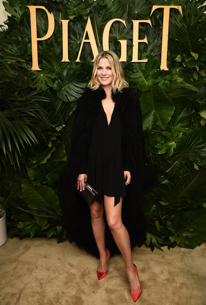 Ali Larter Cape [clothing,little black dress,dress,fashion,leg,footwear,formal wear,outerwear,long hair,shoe,piaget celebrates independent film with the art of elysium,california,los angeles,chateau marmont,ali larter]