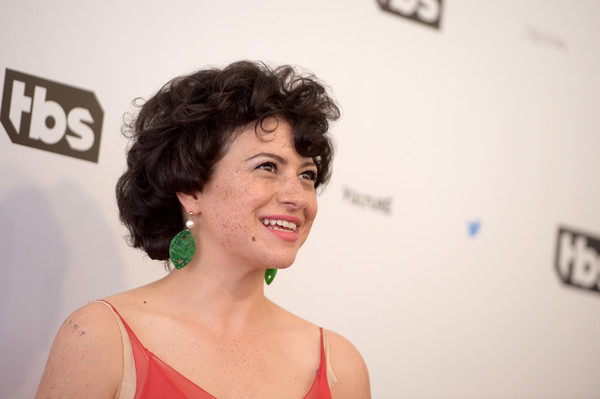 Alia Shawkat Short Curls [full frontal,hair,face,skin,red,hairstyle,beauty,eyebrow,chin,lady,lip,samantha bee,not the white house correspondents,alia shawkat,red carpet,dar constitution hall,washington dc,not the white house correspondents dinner]