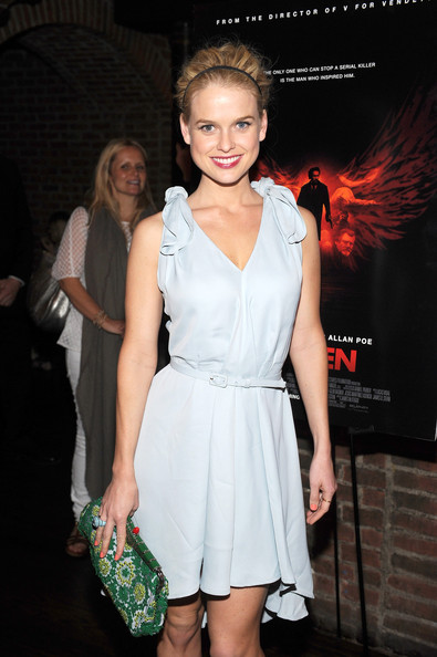 Alice Eve Frame Clutch [the raven,clothing,dress,cocktail dress,fashion,fashion model,event,premiere,fashion design,leg,performance,alice eve,new york city,red carpet screening after party,the vault,deleon tequila presents a special ny screening,party]