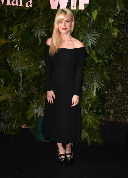 Alice Eve Off-the-Shoulder Dress [arrivals,clothing,dress,shoulder,cocktail dress,little black dress,joint,fashion,strapless dress,footwear,blond,california,los angeles,chateau marmont,max mara wif face of the future,max mara women in film face of the future,alice eve]