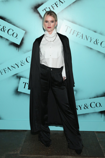 Alice Eve Silk Pants [suit,fashion,formal wear,tuxedo,outerwear,pantsuit,fashion design,style,white-collar worker,alice eve,new york city,tiffany co,love photography exhibition]