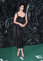 Katherine Waterston made a sultry statement in a sheer black corset dress by Ulyana Sergeenko at the world premiere of 'Alien: Covenant.'