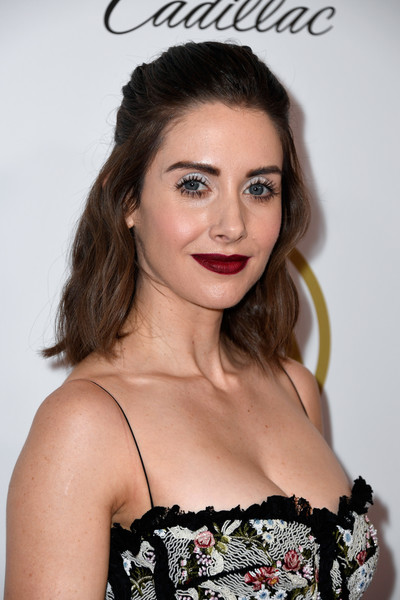 Alison Brie Red Lipstick [hair,hairstyle,eyebrow,clothing,beauty,lip,fashion model,long hair,fashion,eyelash,arrivals,alison brie,the beverly hilton hotel,beverly hills,california,annual producers guild awards]