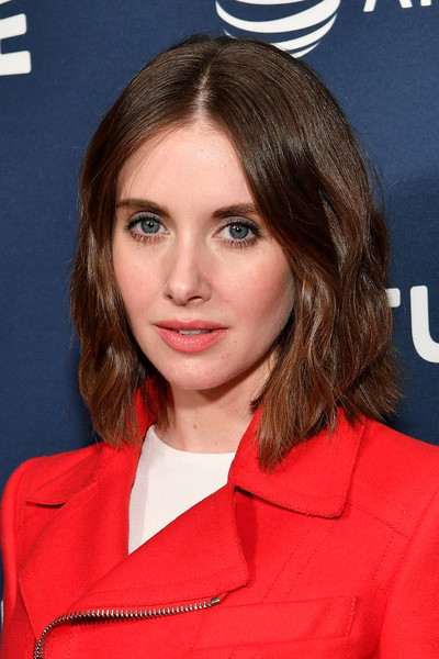 Alison Brie Short Wavy Cut [hair,hairstyle,eyebrow,brown hair,chin,layered hair,premiere,lip,blond,long hair,alison brie,new york city,milk studios,at t,vulture festival]
