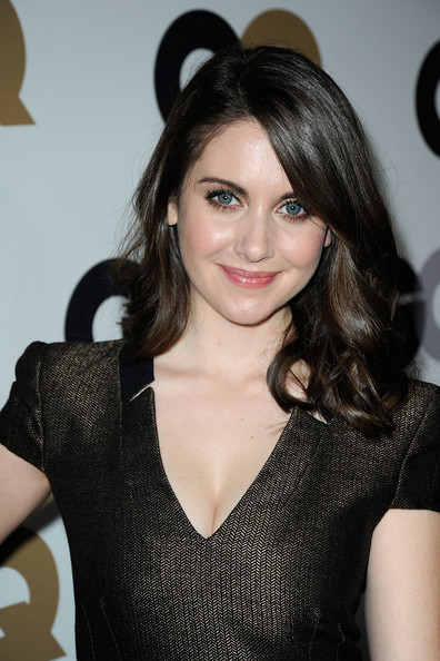 Alison Brie Medium Curls [men of the year,hair,hairstyle,beauty,black hair,brown hair,long hair,layered hair,little black dress,smile,party - arrivals,alison brie,california,los angeles,chateau marmont,gq,party]