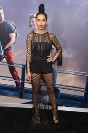 Zoe Kravitz grabbed attention at the 'Allegiant' New York premiere with this black mesh and fringe number.