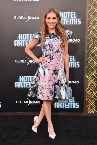 Allison Holker Print Dress [hotel artemis,clothing,dress,premiere,carpet,fashion,red carpet,footwear,cocktail dress,fashion model,flooring,arrivals,allison holker,california,regency village theatre,global road entertainment,westwood,premiere,premiere]