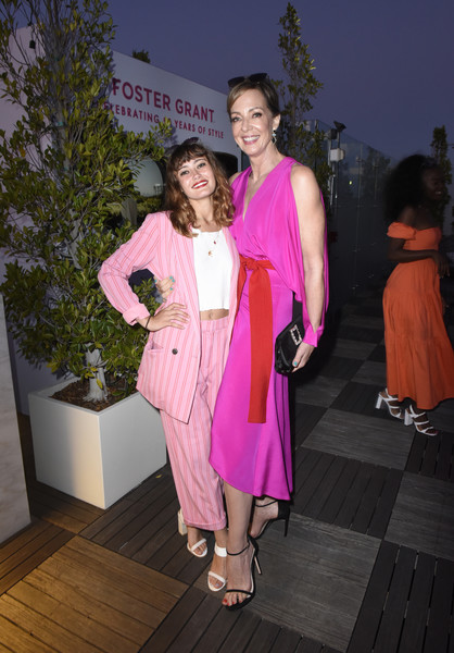 Allison Janney Buckled Clutch [pink,fashion,fashion design,event,fun,magenta,dress,formal wear,haute couture,fawn,ella purnell,allison janney,badass women dinner with foster grant,west hollywood,california,instyle,the london west hollywood]