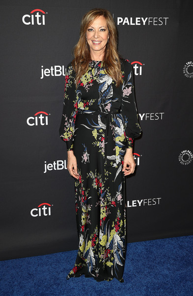 Allison Janney Print Dress [television show,clothing,carpet,red carpet,premiere,fashion,hairstyle,fashion model,dress,flooring,footwear,mom,allison janney,arrivals,los angeles,dolby theatre,california,paley center for media,paleyfest,cbs]