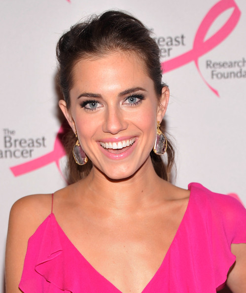 Allison Williams Dangling Diamond Earrings [hair,face,hairstyle,eyebrow,lip,beauty,chin,skin,blond,cheek,allison williams,hot pink party: my fair evelyns dream,the waldorf,new york city,astoria,breast cancer research foundation]