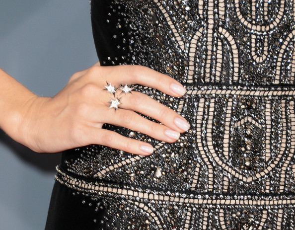 Allison Williams Star Ring [nail,finger,dress,hand,pattern,design,fashion accessory,engagement ring,jewellery,diamond,arrivals,allison williams,jewelry detail,california,los angeles,staples center,55th annual grammy awards]