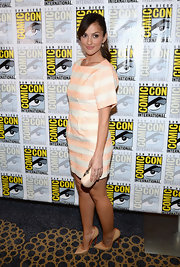 Minka Kelly looks pretty in peach at the 'Almost Human' Comic-Con event.